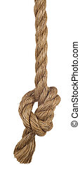 ship rope with knot isolated on white background