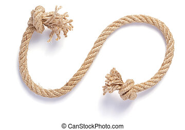 ship rope with sea knot on white background