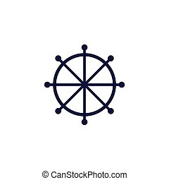 Ship s wheel icons for marine design, four types of colorful round icons, vector illustration