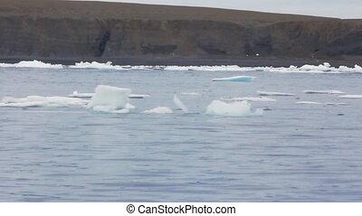 Ship sailing among drifting ice along coast Novaya Zemlya...