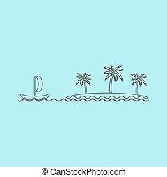 ship sailing near the island with palm trees