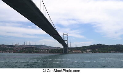 Ship sailing under Bosporus Bridge in Istanbul