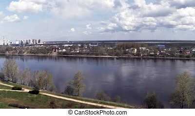 ship sails on the River time Lapse