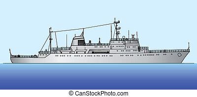 ship scorpion - Vector illustration of a ship