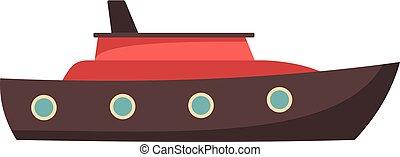 Ship sea icon, flat style
