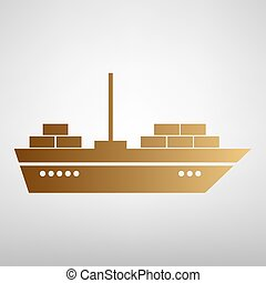 Ship sign. Flat style icon