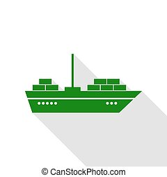 Ship sign illustration. Green icon with flat style shadow path.