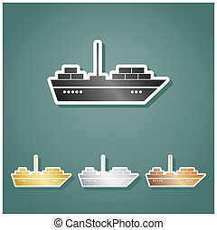 Ship sign illustration. Set of metallic Icons with gray, gold, silver and bronze gradient with white contour and shadow at viridan background. Illustration.