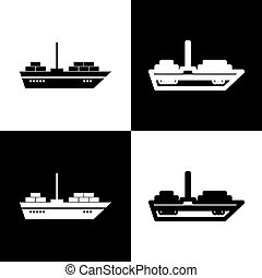 Ship sign illustration. Vector. Black and white icons and line icon on chess board.