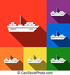 Ship sign illustration. Vector. Set of icons with flat shadows at red, orange, yellow, green, blue and violet background.