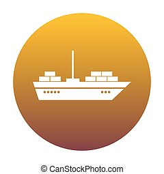 Ship sign illustration. White icon in circle with golden gradien