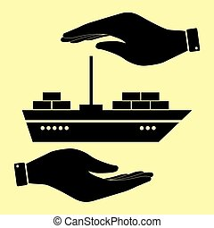 Save or protect symbol by hands. - Ship sign. Save or...
