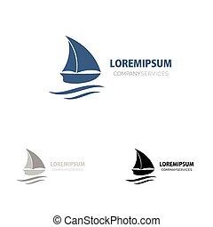 Ship sign. small blue boat. Branding Identity. Corporate vector logo design.