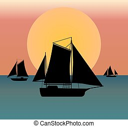 ship silhouette in the sea