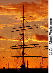 Ship silhouette - Silhouette of a schooner against the...