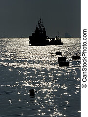 Ship silhouette - A ship silhouette after sunset from...