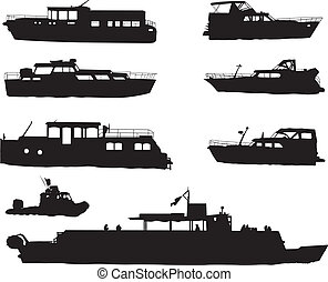 Ship silhouettes - Ship black silhouettes on white...