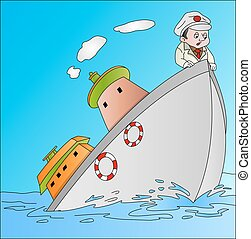 Ship Sinking with Captain, illustration - Ship Sinking with...
