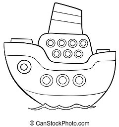 ship sketch coloring book, isolated object on white background, vector illustration,