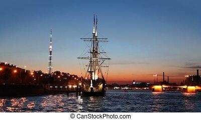 Ship standing at pier on Neva night