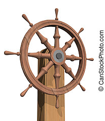 3D illustration of a wooden ship steering wheel