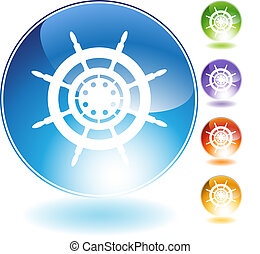 Ship Steering Wheel Crystal Icon
