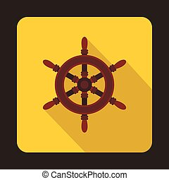 Ship steering wheel icon, flat style