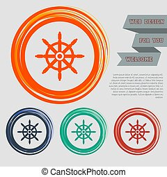 Ship steering wheel icon on the red, blue, green, orange buttons for your website and design with space text. Vector