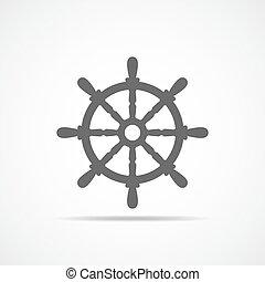 Ship steering wheel icon. Vector illustration