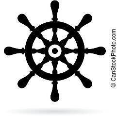 Ship steering wheel vector icon on white background