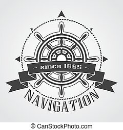 Ship steering wheel with banner