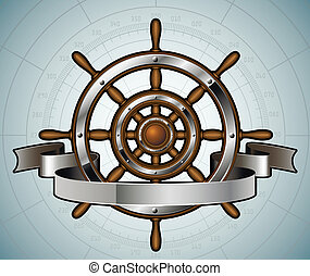Ship steering wheel with banner. Vector illustration.