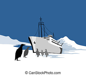 Ship stranded in the pola - Illustration on marine travel