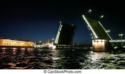Ship swims up to Drawbridge dissolved on Neva - ship swims...