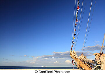 Ship tackles, Rigging on a old frigate - Old Ship tackles on...