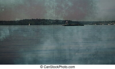 Ship time lapse Seattle with blue grunge overlay - Mixed...