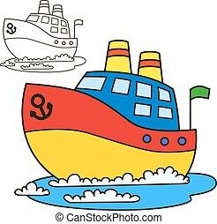 ship., tinja livro, motor, página
