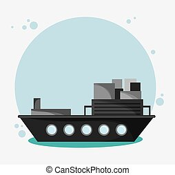 Ship transportation vehicle travel, vector