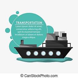 Ship transportation vehicle travel, vector