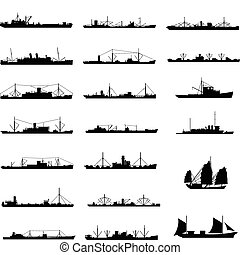 ship - Illustration of 20 different kinds of cargo ship in...