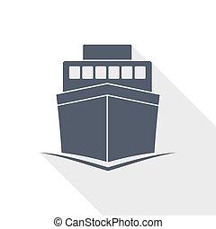 ship vector icon, boat, travel, marine concept flat design illustration
