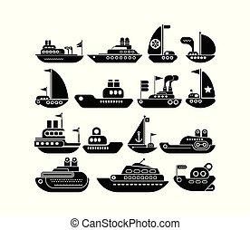 Ship vector icon set
