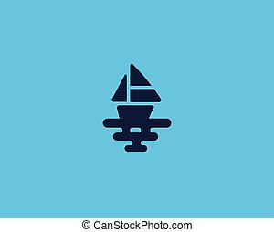 Ship vector logotype. Boat sea creative logo