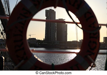 ship view to Sea Towers in Gdynia, Poland