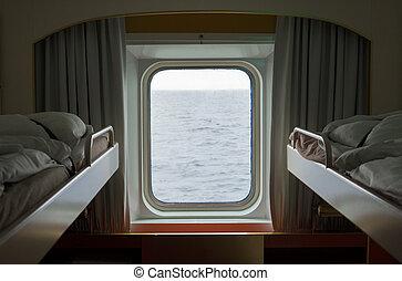 ship., vue, orage, mer, hublot