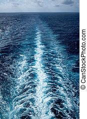 Ship' wake at sea