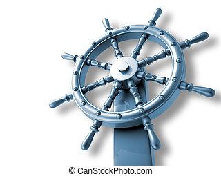 Ship wheel - 3d rendered illustration of ship wheel over...