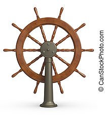 3D rendered Ship steering wheel on white surface.