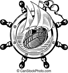 vectorial image of ship is in framing of steering wheel, executed in style of engraving