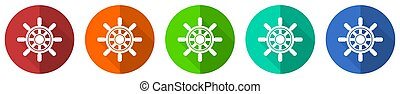Ship wheel icon set, red, blue, green and orange flat design web buttons isolated on white background, vector illustration